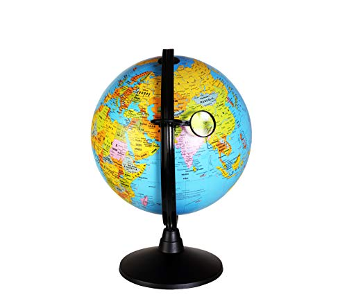 Educational World Globe – Globe of The World with Stand and Magnifying Glass – Perfect in Classroom Teaching for Adults and Children – Accurate Geographical Display - 10 and 12-inch Globe