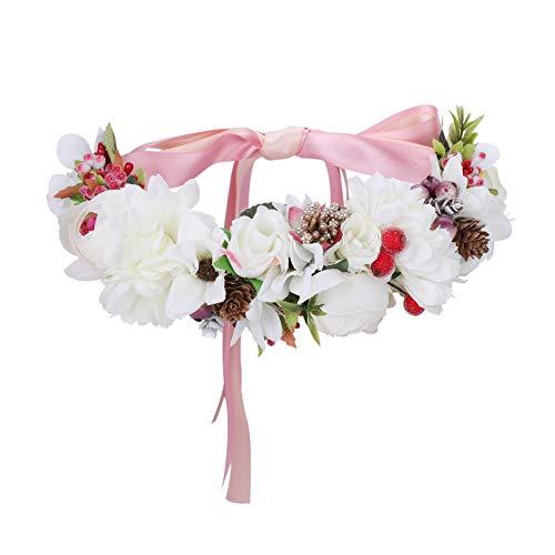 AWAYTR Blumen Stirnband Hochzeit Haarkranz Krone - Frauen Mädchen Blumenkranz Haare für Hochzeit Party(Weiße-Seide)