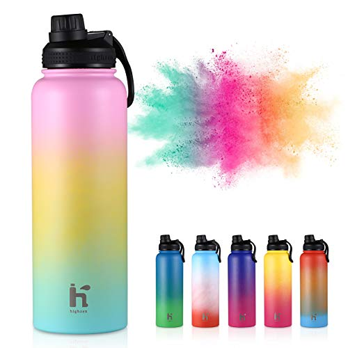HAPHOM Water Bottle Insulated 37oz Sporty Water Bottle BPA Free Sweat Proof 18/8 Stainless Steel Hinge Lock Lid,Rust Resistance Special Color Suitable for All People and Anywhere