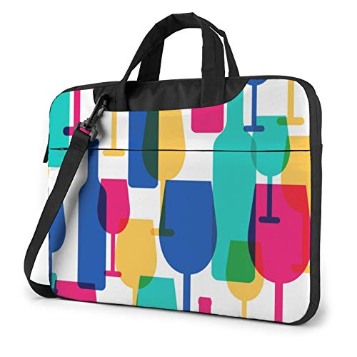 Bolsa de hombro para portátil – Manchas de pintura de acuarela, salpicaduras, estampado a prueba de golpes, impermeable, para portátil, Copas de cóctel y botellas de vino (Morado) - 259841