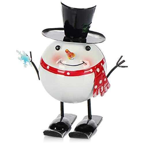 com-four® Weihnachtsdeko Schneemann Figur aus Metall - Weihnachtsfigur stehend - Dekofigur zu Weihnachten - Wackelfigur aus Blech