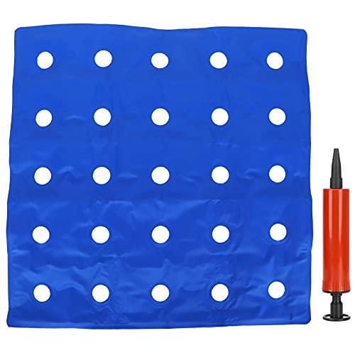 Garosa Cojín de Asiento Inflable Cojín de Silla cómodo Silla de Ruedas Alivio de presión de PVC Sentado prolongado Cojín de firmeza Ajustable para Oficina en casa Azul