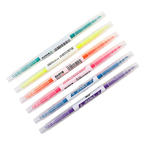 6 Count Highlighter, Assorted Colors Chisel Tip Double Ended Marker Pen Kids School Adult Office Stationery (multicolor)