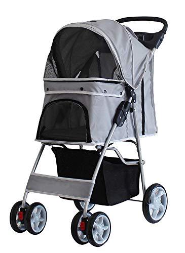 Saving Plus Pet Travel Stroller Dog Cat Pushchair Pram Jogger Buggy Trolley Puppy Jogger Folding Carrier With 4 Wheels (Grey)