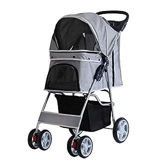 Saving Plus Pet Travel Stroller Dog Cat Pushchair Pram Jogger Buggy Trolley Puppy Jogger Folding Carrier With 4 Wheels (Grey) 16
