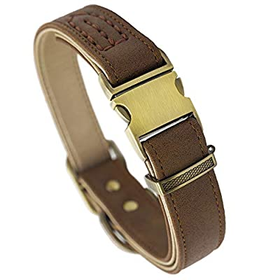 Fourhorse Basic Classic Luxury Padded Leather Dog Collar,The Seatbelt Buckle,Soft and Comfort,for Large Medium Small Pets (L, Khaki)