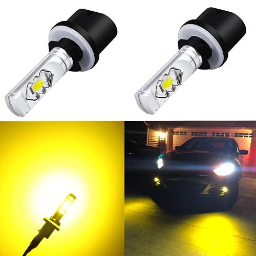 Alla Lighting 3800lm 899 880 LED Fog Light Bulbs 893 885, 3000K Amber Yellow Xtreme Super Bright ETI 56-SMD for Auto Motorcycle Cars Trucks SUVs