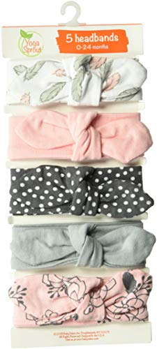 Yoga Sprout Baby Girls' Cotton Headbands, Feather Floral, 0-24 Months