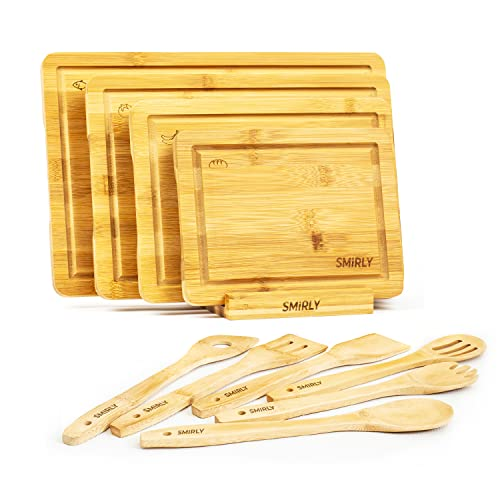 Smirly Bamboo Cutting Board Set: Wood Cutting Boards for Kitchen, Wood Cutting Board Set, Chopping Board Set, Wooden Cutting Boards for Kitchen Large Wooden Cutting Board Set, Small Cutting Board Wood