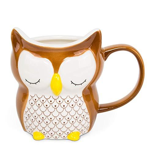 el & groove 3D Porzellan Eule in braun, Kaffeetasse 250 ml (340 ml randvoll), Tee-Tasse aus Porzellan, Tasse für Morgenmuffel, Owl, Schlafmütze, Eulen Deko, Geschenk Eule, Porzellan Eule, Geschenkidee