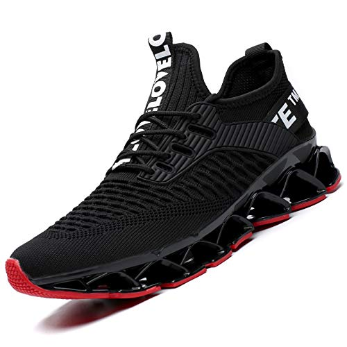 Vooncosir Men's Fashion Sneakers Breathable Mesh Running Shoes Blade Non Slip Soft Sole Casual Athletic Lightweight Walking Shoes(9.5,Black/Red)