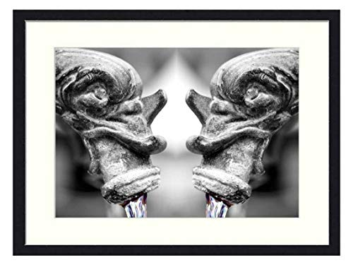 OiArt Wall Art Print Wood Framed Home Decor Picture Artwork(24x16 inch) - Fountain Gargoyle Water Flow Old Figure