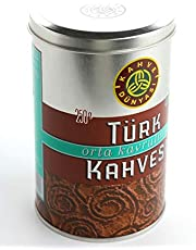 Kahve Dunyasi (Coffee's World) 8.8 Oz (250g) Premium Ground Turkish Coffee in Metal Box 100% Arabica Cofee Bean (Medium Roasted)