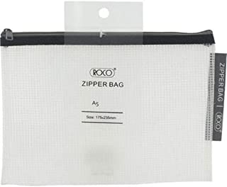 Roco RQ-FB8066BLK A5 Topload Opening Document Pouch, Clear-Black Accent