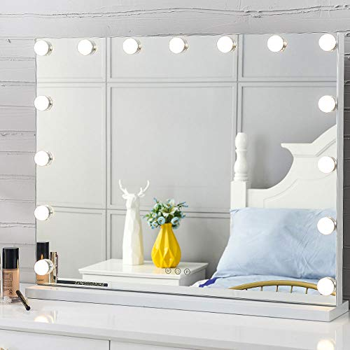 Puselo Großer Hollywood-Make-up-Spiegel, beleuchtet, mit 17 integrierten LED-Lampen