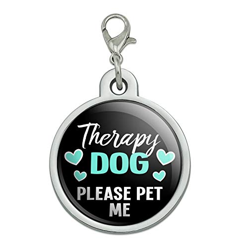 Graphics and More Therapy Dog Please Pet Me with Hearts Chrome Plated Metal Pet Dog Cat ID Tag - Large