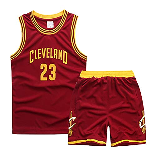 XZM Lebron James Nr. 23, Cleveland Cavaliers Spieltrikot, Retro-Basketball-Shorts Sommer Trikot Basketball-Anzug-Set-red-M