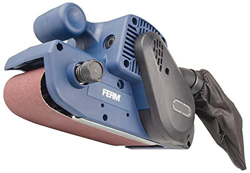 FERM Ponceuse à bande 900W- Câble 3 mètres - Incl. 1 bande abrasive et sac à poussière