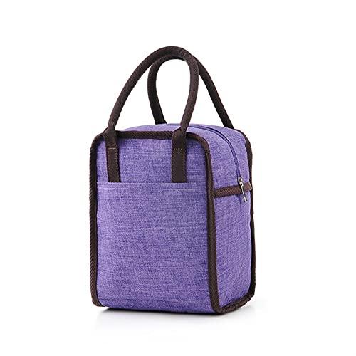 LCISCOUP Bolsa Almuerzo Caja de Picnic aislada Hombres Mujeres Bolso de Alta Capacidad Portátil Enfriador térmico Bolsas de Enfriador de Almuerzo (Color : Purple)