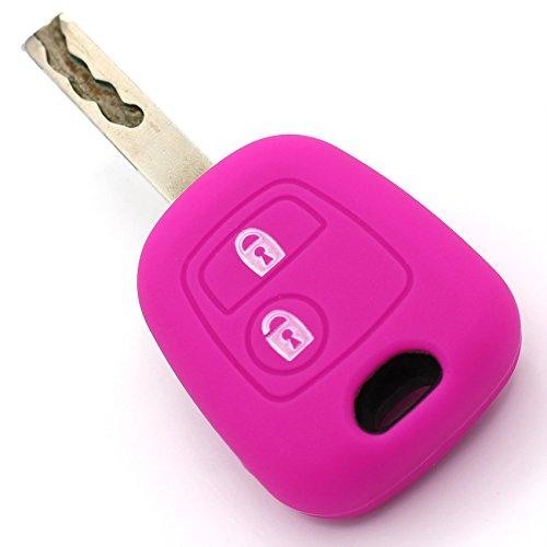 Schlüssel Hülle PEC für 2 Tasten Autoschlüssel Silikon Cover von Finest-Folia (Neon Pink)