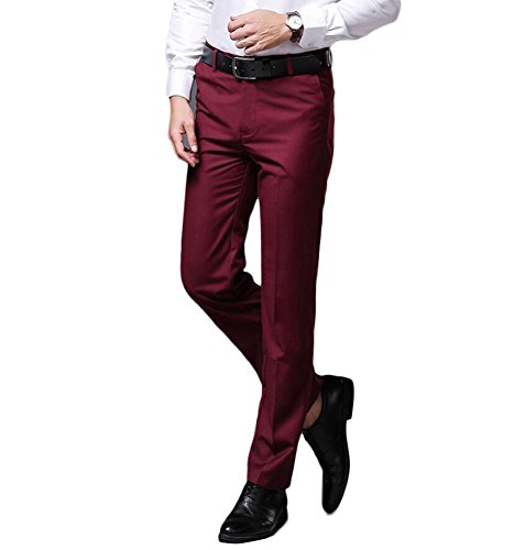 Men's Wrinkle-Free Stretch Pants Comfort Suit Pant Dress Trousers Burgundy 34Wx34L