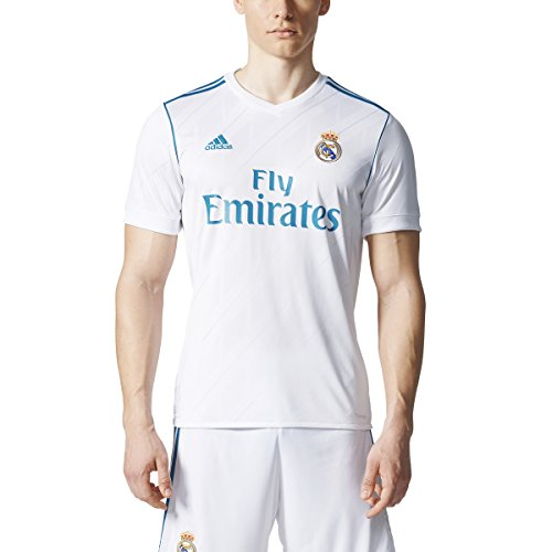 adidas Men`S Real Madrid Home Soccer Jersey White/Teal(Bts17) L