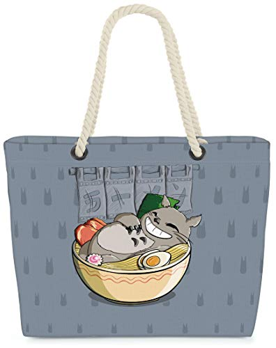 VOID XXL Strandtasche Ramen Totoro Shopper Tasche 58x38x16cm 23L Beach Bag Neko Mein Nachbar Anime Tonari no, Kissen Farbe:Grau