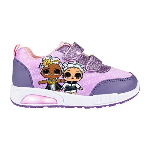 L O L Surprise! | Zapatos De Niña | Zapatillas De Diseño Ligero | Escuela | Casual | Zapatos De Moda Luces 3D Lilas | Velcro | EU 32 |