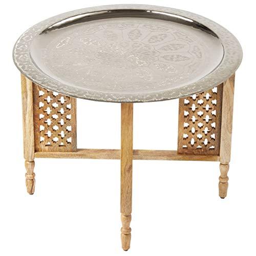 Marokkanischer Runder Tisch Couchtisch Hania ø 60cm rund | Orientalischer Wohnzimmertisch mit klappbaren Vintage Gestell aus Holz in Natur | Das Tablett Dieser Klapptisch ist aus Metall in Silber