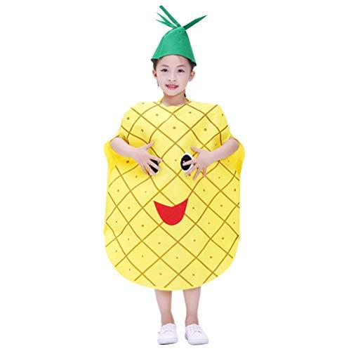 NUOBESTY Kinder Obst Kostüm Anzug mit Hut Gemüse Kostüm Outfits Ananas Apfel Pilz Erdbeere Birnenform für Kostümparty Jungen und Mädchen (Ananasform)