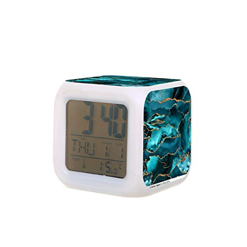 Elektrischer Wecker mit blauem und goldfarbenem Glitzer-Achat, Nachtlicht, Schlaf-Ton, Temperatur-Erkennung mit 7 Farben