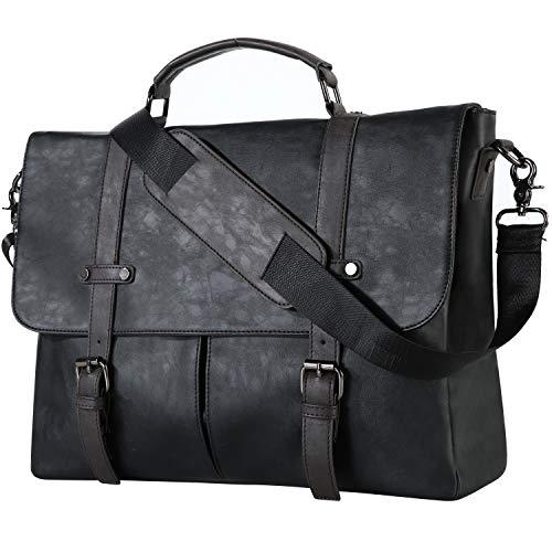 Leder-Kuriertasche für Herren, klassische Lederlaptoptasche 15.6 Zoll, Business-...