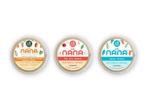 NANA - Pack Comida, 3 tarritos ecologicos de verdura, de pollo y de merluza 185g