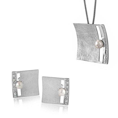 MATERIA Schmuckset 925 Silber BEATRICE 45cm Schlangenkette + Perle Zirkonia Ohrstecker & Anhänger + Box