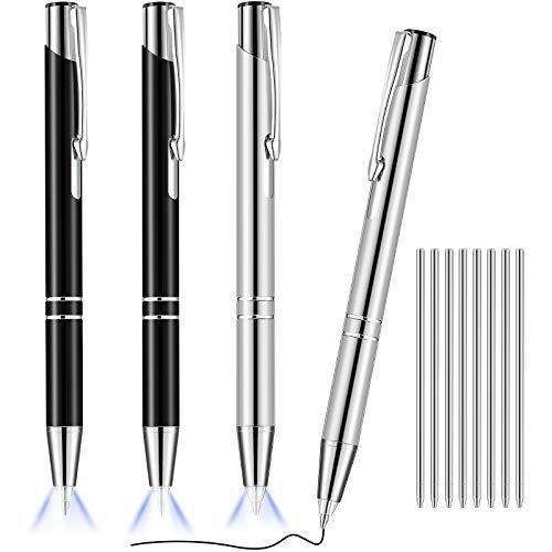 4 Stücke Leuchtend Spitzen Stift Metall Kugelschreiber mit Hellem LED Beleuchteten Stift Schwarzer Tinten Schreibstift mit 8 Stücke Stift Nachfüllungen zum Schreiben im Dunkeln