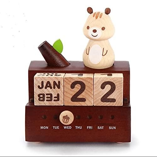 LZL Música giratoria Caja de Mesa Calendario Bloques de Madera Perpetual Chic Chic Squirrel Calendario Perpetual Caja de música Regalo para niños
