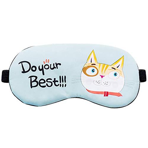 Oogmasker Mooie kat Cartoon slapen masker oogschaduw oogblinder met ijs Pack Size 2 Lichtblauw