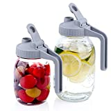 Regular Mouth Mason Jar Lids with Handle, Airtight & Leak-proof Seal, Easy Pouring Spout, Flip Cap Pour Lids,Turns your Mason Jar into Pitcher (Jar Not Included)