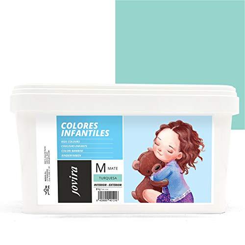 COLORES INFANTILES Pintura plástica ecológica sin olor e hipoalergénica de acabado mate y luminoso. (5 KG, TURQUESA)