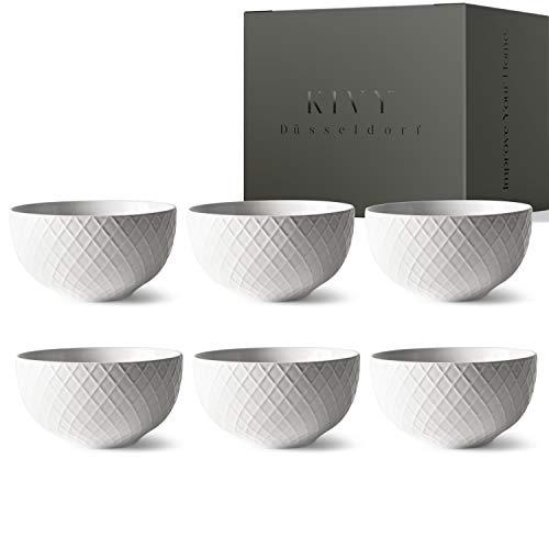 KIVY® Müslischalen 6er Set [850 ml] - Extra Groß für Müsli, Bowls & Suppen - Müslischale Groß - Bowl Schüssel Set- Suppenschüsseln Groß - Ramen Schüssel - Suppenschale Weiß - Schalen Set