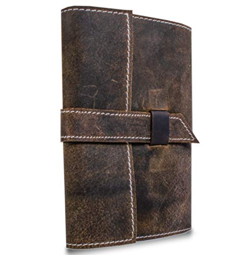 Refillable Leather Journal handmade Lined Paper Writing Notebook Diary/Bound Daily Notepad For Men & Women Unlined Paper Medium 7 x 5 Inches, writing pad gift for artist, sketch (Lined Refillable)