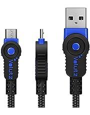 Volutz Micro-USB CABLE 3m para el controlador de PS4, trenzado y resistente cable de carga rápida compatible con Samsung Galaxy S6 S7, HTC, Sony, LG, Kindle, Xbox One 3M Blue