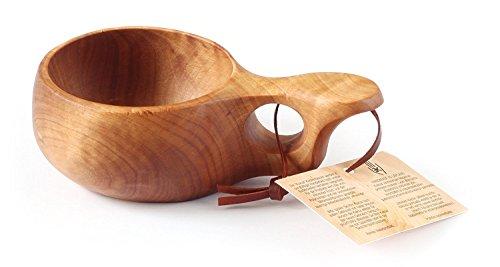 Nordic Art Store handgefertigte GUKSI – handgefertigte Tasse aus HÄNGE-BIRKENHOLZ (Carelica) aus Lappland – Nr. 07 für Das Wandern, Camping, die Küche, im Freien oder als Geschenk.