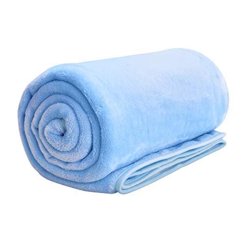 KLAS REMO Manta Reversible de Franela/Sherpa Manta Pelo Extra Suave 130 x 160cm Manta de Felpa para Sofá y Cama - Azul Claro