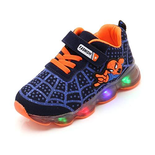 YeMao Sneakers Spiderman Scherza Il Bambino Illuminano in su Scarpe da Corsa a LED,Blue-27 EU