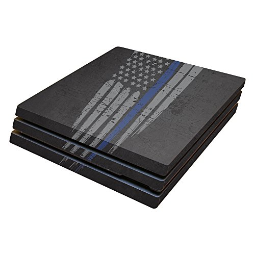 MightySkins Skin Compatible with Sony PS4 Pro Console - Thin Blue Line   Protective, Durable, and Unique Vinyl Decal wrap Cover   Easy to Apply, Remove, and Change Styles   Made in The USA
