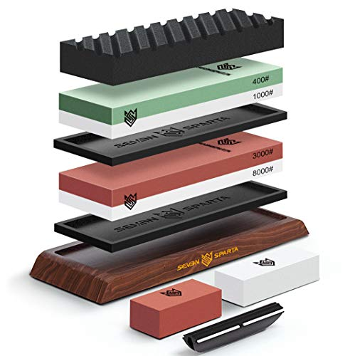 Seven Sparta Knife Sharpening Stone Set 3000/8000 and 400/1000 Whetstone Sharpener Stone Kit for Knives with Non Slip Acacia Wood Base, 2 Silicone Pad, Flattening Stone, Angle Guide