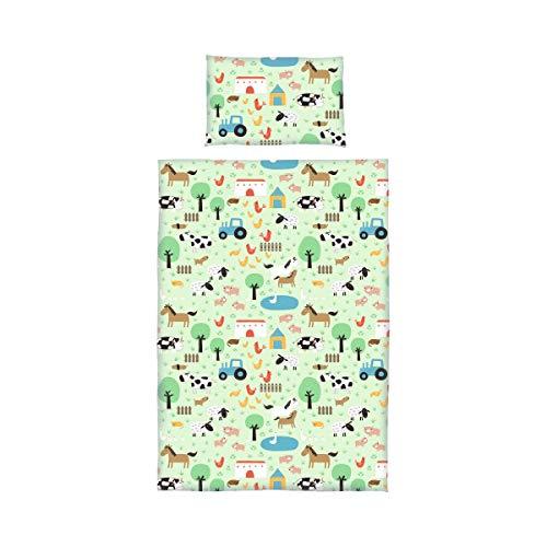 BORNINO HOME Parure de lit Ferme 40x60/ 100x135cm, vert/multicolore