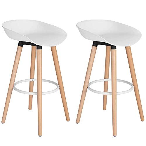 BAKAJI Juego de 2 taburetes altos con estructura de 4 patas de madera de haya, asiento de ABS con reposapiés, decoración...
