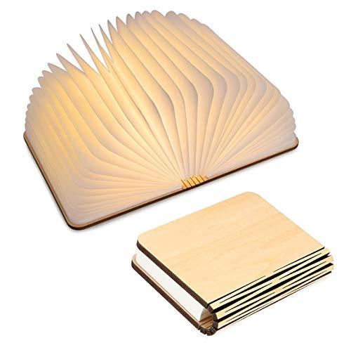 Lámparas tipo libro con USB recargable plegable de madera magnética con luz de LED –1000mAh baterías de litio. Lámpara de mesa